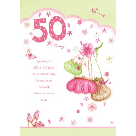 50th Birthday Woman Greeting Card Personalised A5gra00830017ed