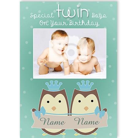 Twin Boys Greeting Card Personalised A5qcckelowlboed