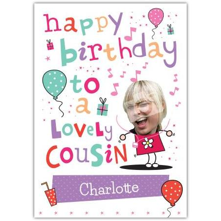 Birthday Cousin Female Balloons Greeting Card Personalised A5blm2017003587