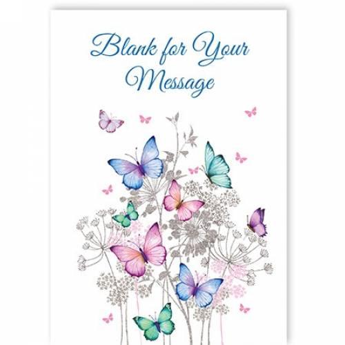 Blank Insert Message Butterflies Card