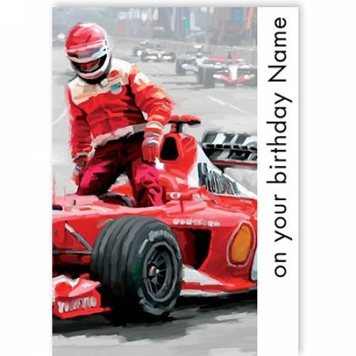 On Your Birthday Race Car F1 Card