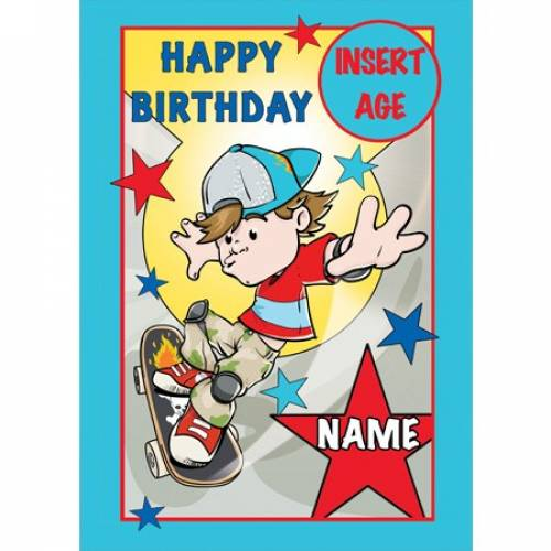 Happy Birthday Boy Scateboard Card