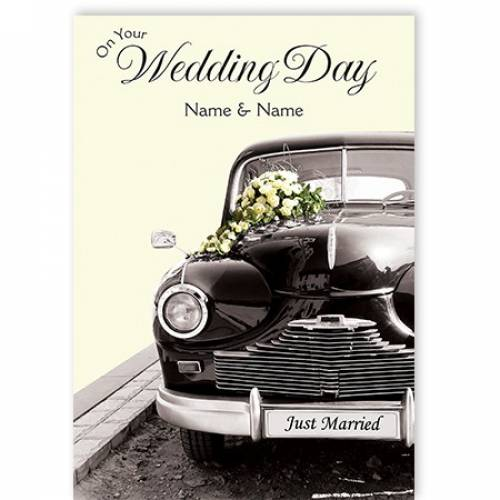 On Your Wedding Day Vintage Car Card