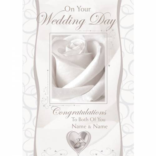 On Your Wedding Day Congratulations White Rose Card