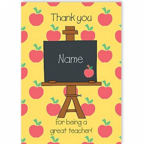Thank You Apple For Being A Great Teacher Card