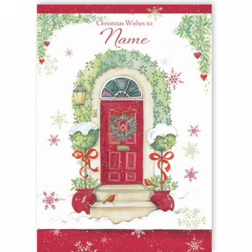 Christmas Wishes Holly Door Card