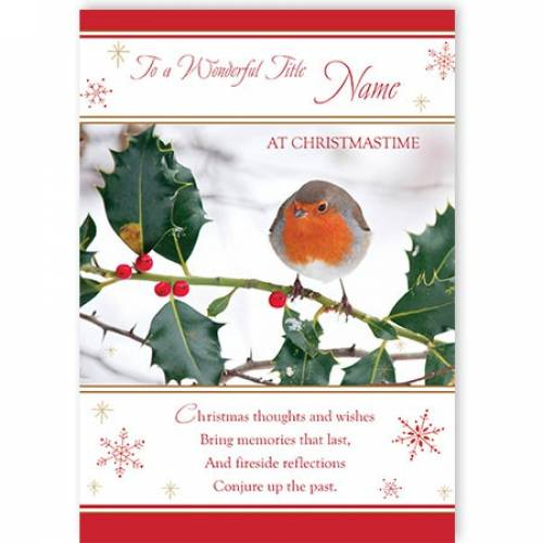 To My Wonderful This Christmas Robin Card