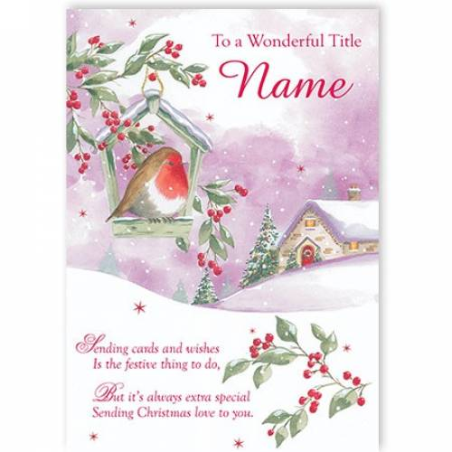 Sending Card And Wishes Christmas Card