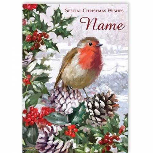 Special Christmas Wishes Robin Christmas Card
