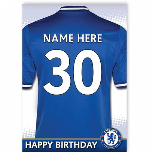 Chelsea Insert Age Jersey Birthday Card