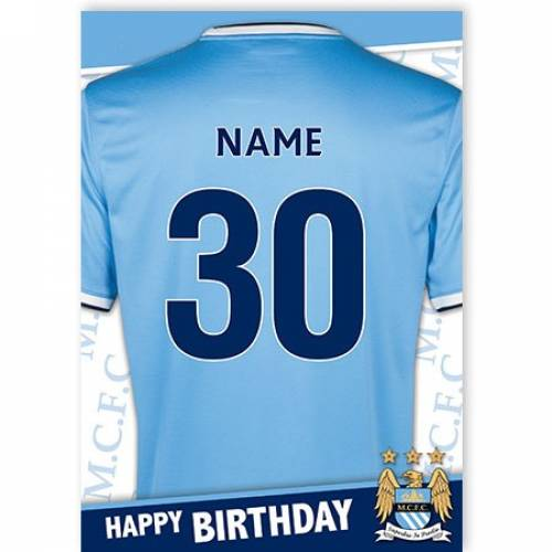 Manchester City Insert Age Jersey Birthday Card