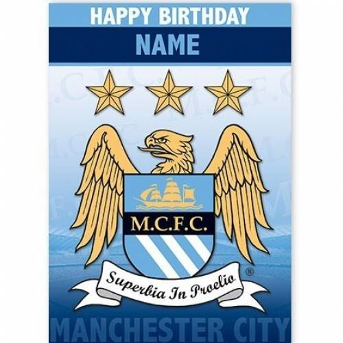 Manchester City Happy Birthday Card