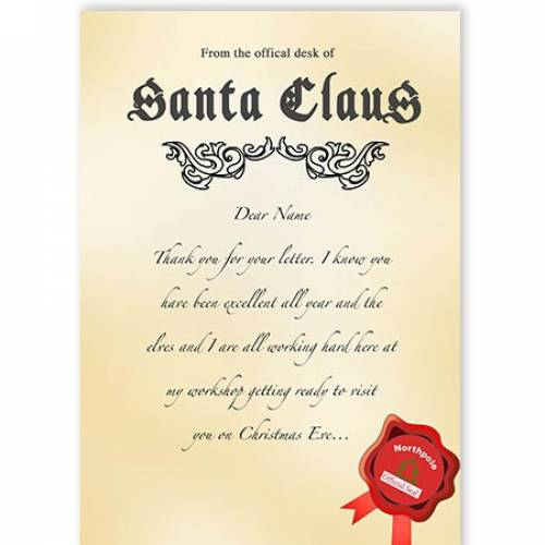 Santa Claus Letter From Northpole Christmas Card