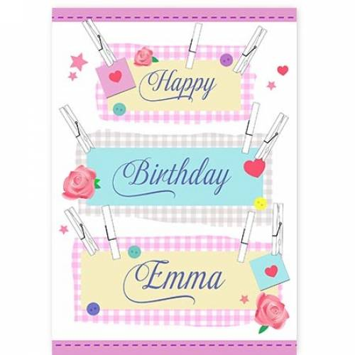 Pegs Happy Birthday Card