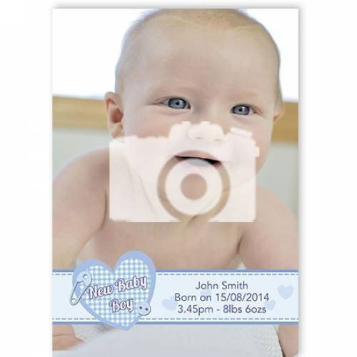 New Baby Boy Photo Card