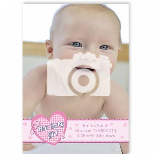 New Baby Girl Photo Card