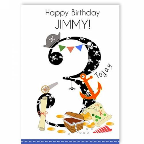Happy 3rd Birthday Pirate Card
