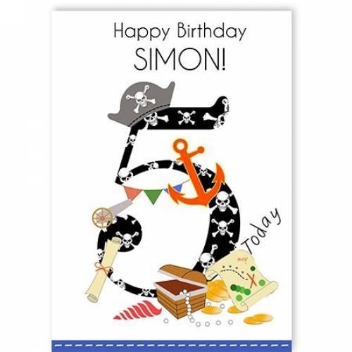 Happy 5th Birthday Pirate Card