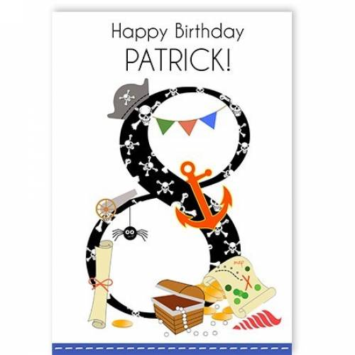 Happy 8th Birthday Pirate Card