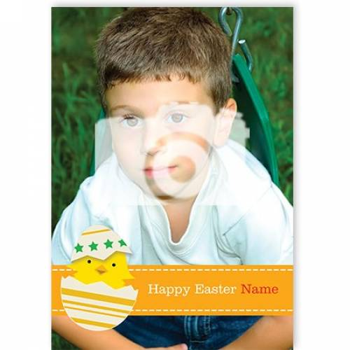 Happy Easter Chick Photo Upload Card