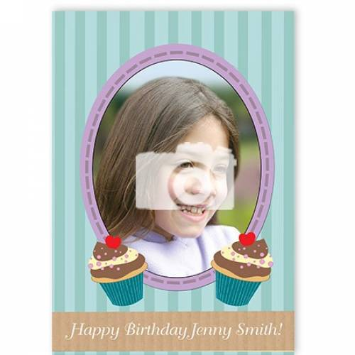Cupcake Happy Photo Name Birthday Card