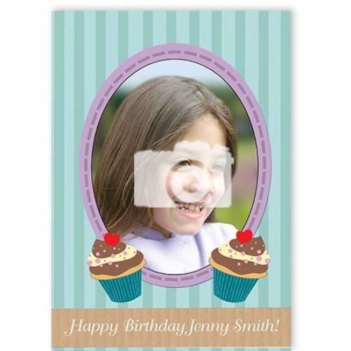 Cupcake Happy Photo Name Birthday Card