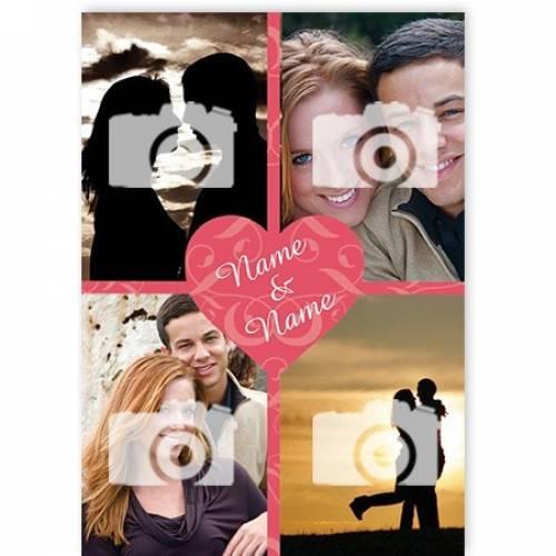 Name And Name Heart 4-photo Card
