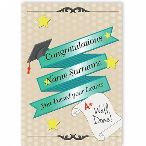 Congratulations You Passed Exams Well Done Card