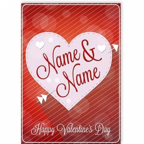 Love Heart Insert Names Valentine's Day Card