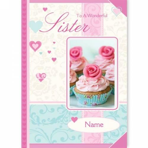 Wonderful Sister Cupcake Card