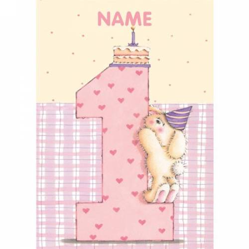 Rabbit Pink Birthday 1st Birthday Card