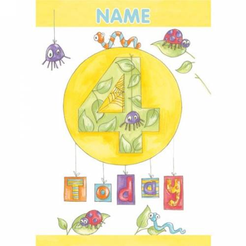Insects Birthday 4th Birthday Card