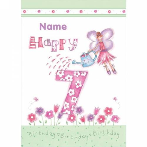 Fairy Watering Can 7th Birthday Card