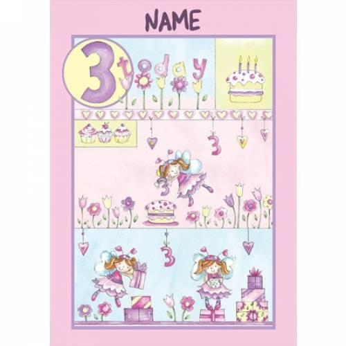 Birthday Girl 3 Today Birthday Card