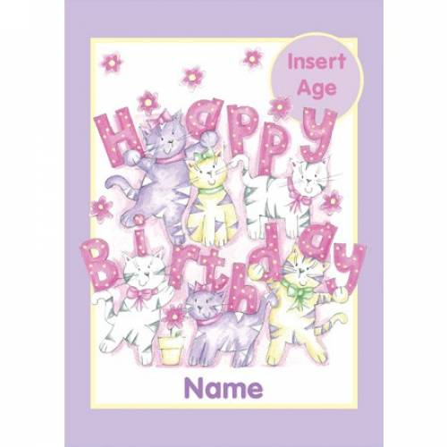 Insert Age Pink Cats Girl Birthday Card