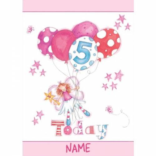Five Today Balloons Girl 5th Birthday Card