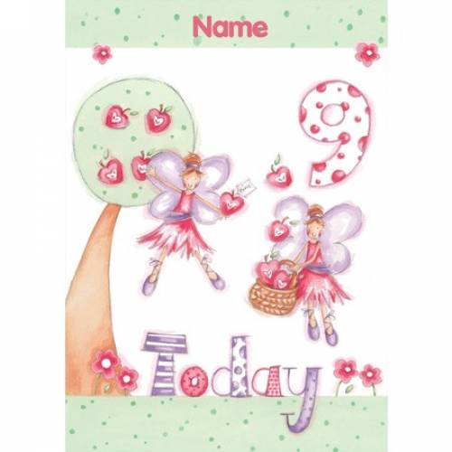 Fairy Pink Girl Happy 9th Birthday Card