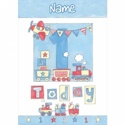 One Today Train 1st Birthday Card