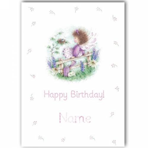 Birthday Girl Purple Fairy Any Age Birthday Card