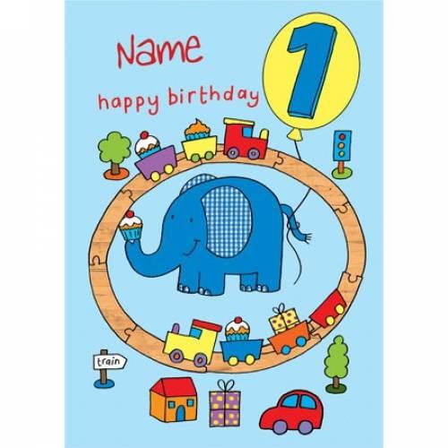 Happy 1st Birthday Train Elephant Birthday Card