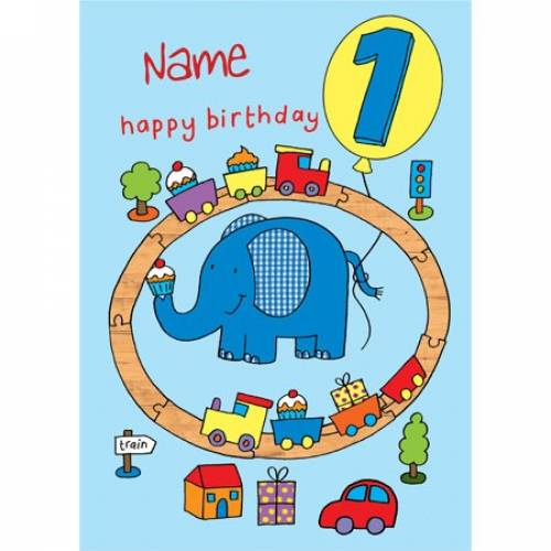 Happy 1st Birthday Train Elephant Birthday Card