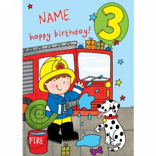 Happy 3rd Birthday Fireman Birthday Card