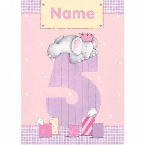 Happy 5th Birthday Elephant Birthday Card