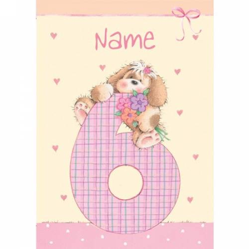 Happy 6th Birthday Puppy Birthday Card