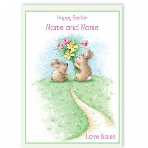 Happy Easter Bunny Flowers Easter Card