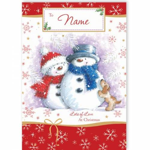 Two Snowman Lots Of Love Christmas Card