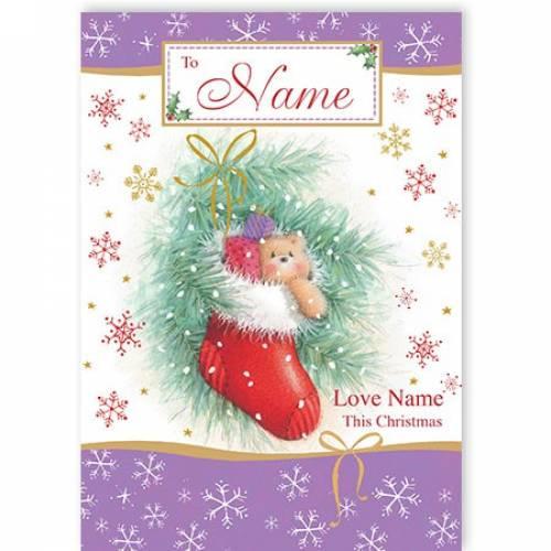 Teddy Stocking Love This Christmas Card