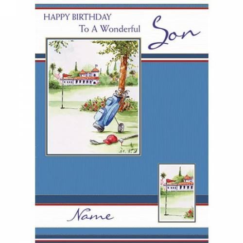 Wonderful Son Golf Birthday Card