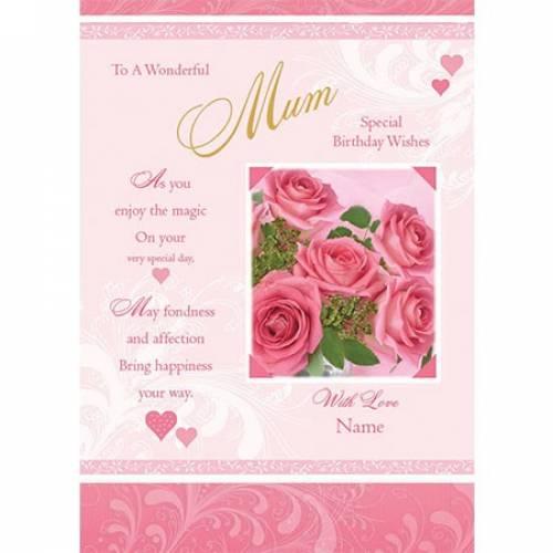 Wonderful Mum Special Wishes Birthday Card