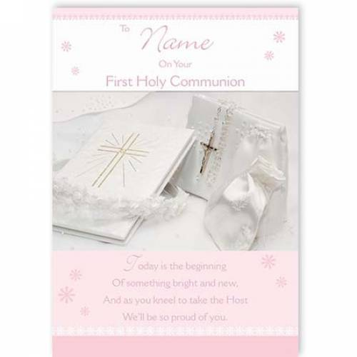 Pink On Your First Holy Communion Card